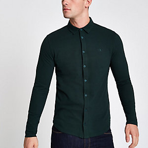 Donkergroen aansluitend overhemd met lange mouwen