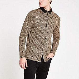 Lichtbruin slim-fit overhemd met RI-print