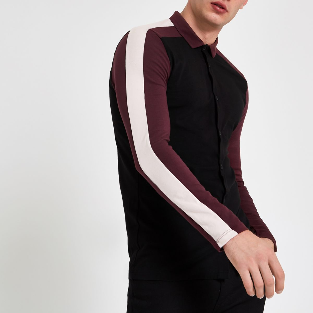 Black color block muscle fit polo shirt