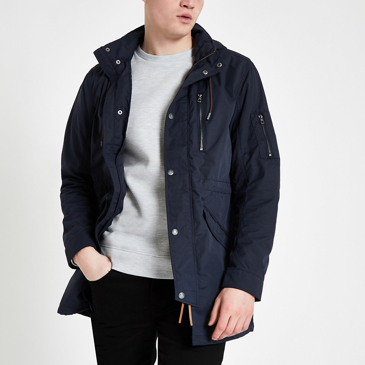 Only & Sons navy long sleeve parka jacket