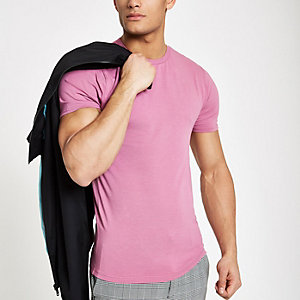 Rose pink muscle fit crew neck T-shirt