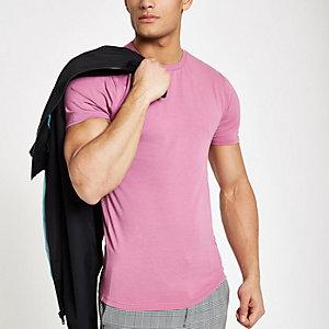 Roségoudkleurig aansluitend T-shirt met ronde hals