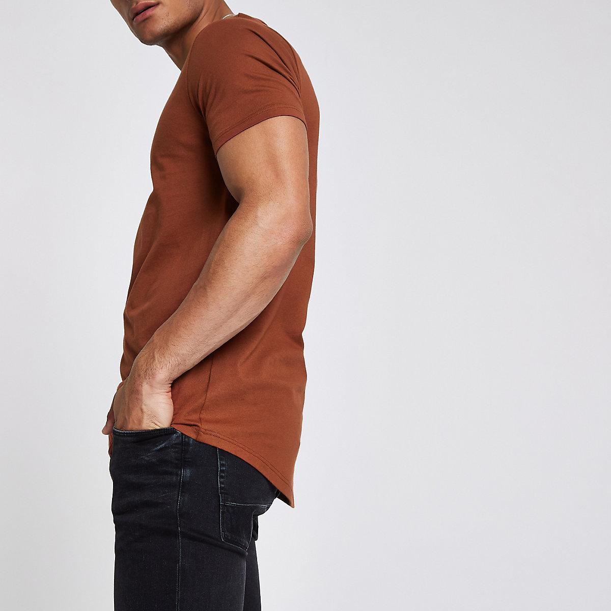 Light brown curved hem T-shirt
