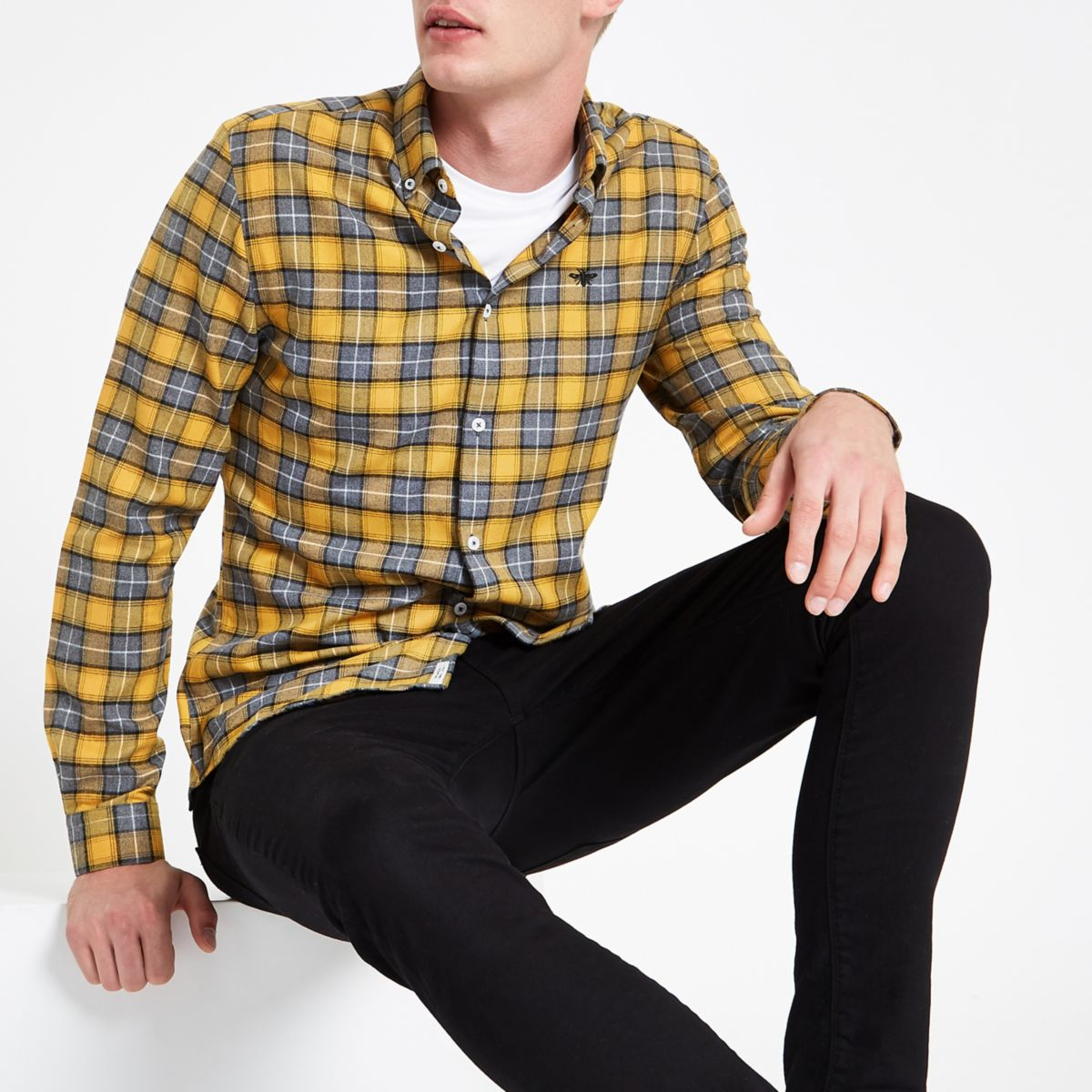 Yellow check wasp embroidered button-up shirt