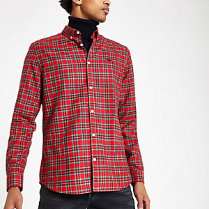 Red tartan wasp embroidered long sleeve shirt