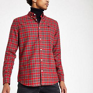 Chemise écossaise rouge à broderie guêpe et manches longues