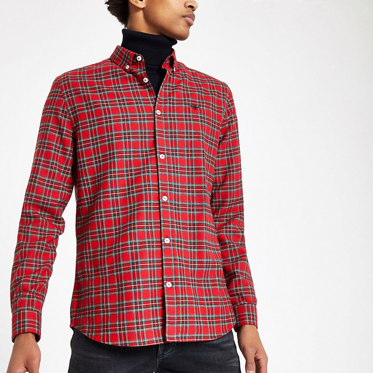 Red plaid wasp embroidered long sleeve shirt