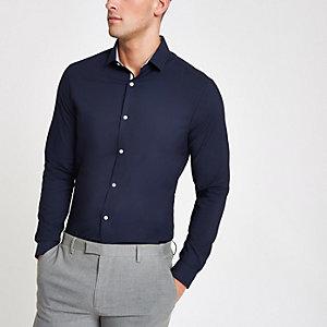 Chemise manches longues stretch bleu marine habillée texturée