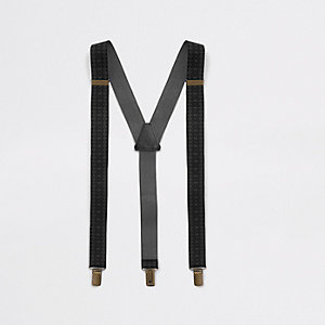 Zwarte riem met RI-monogram, bretels