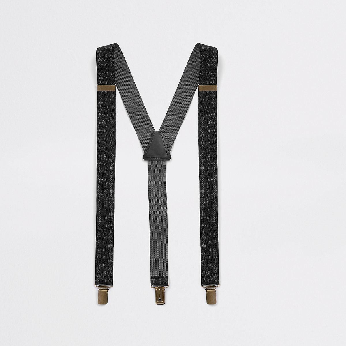 Black RI monogram belt suspenders