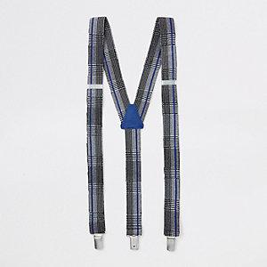 Grijs met blauw geruite riem, bretels