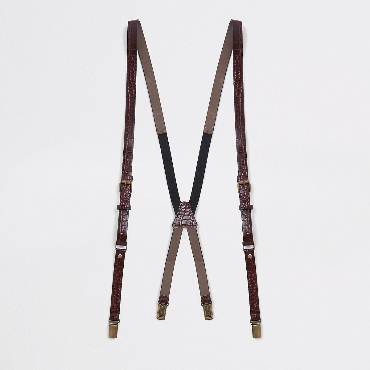 Red croc leather belt suspenders