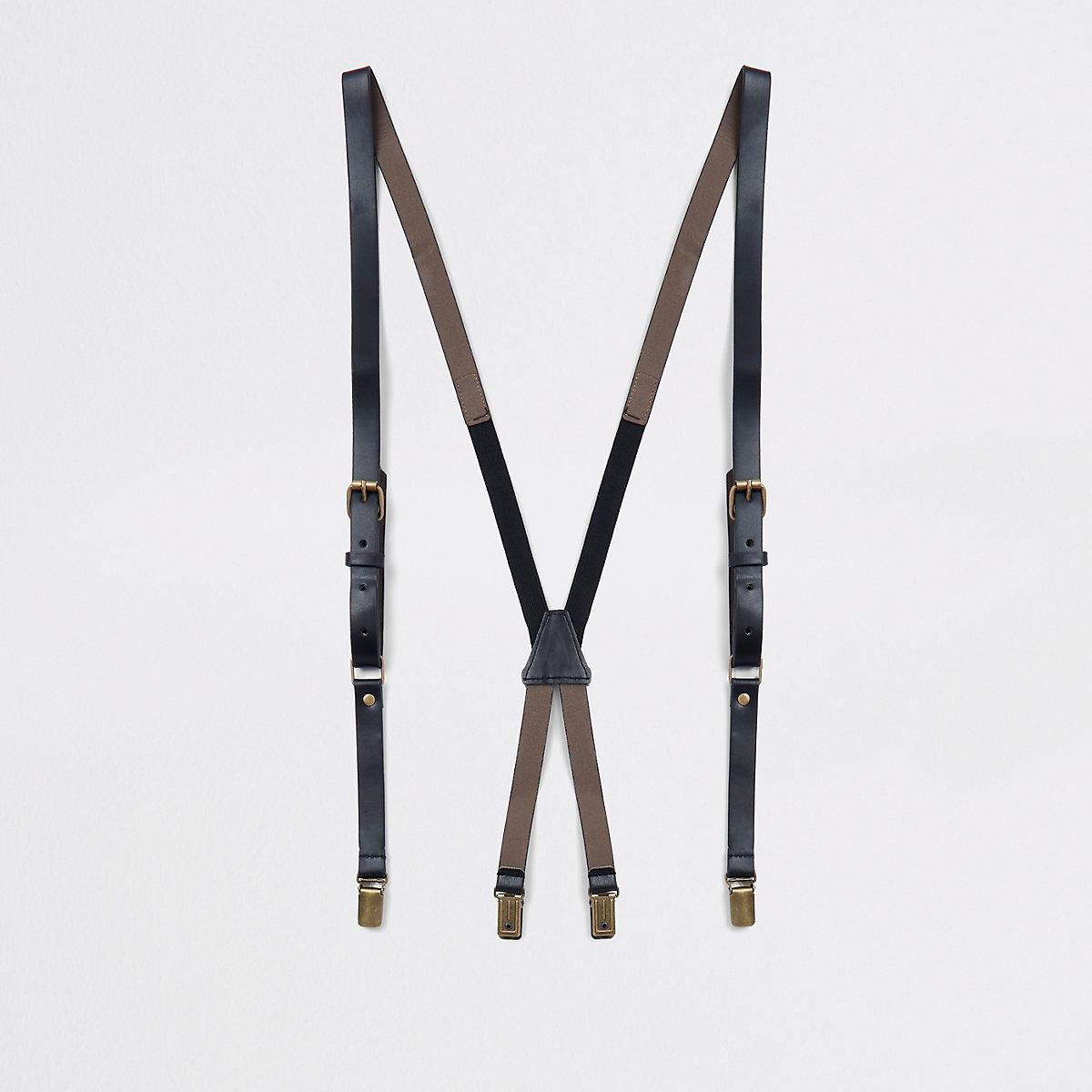 Black leather belt suspenders