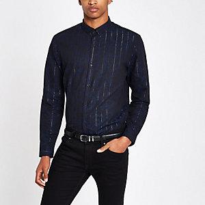 Langarmhemd in Marineblau-Metallic