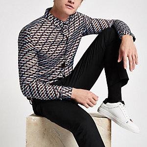Olly Murs – Chemise bleue à manches longues et imprimé géométrique
