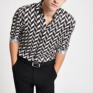 Olly Murs black mono print long sleeve shirt