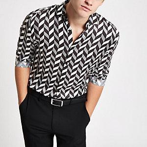 Olly Murs - Zwart overhemd met monochrome print en lange mouwen