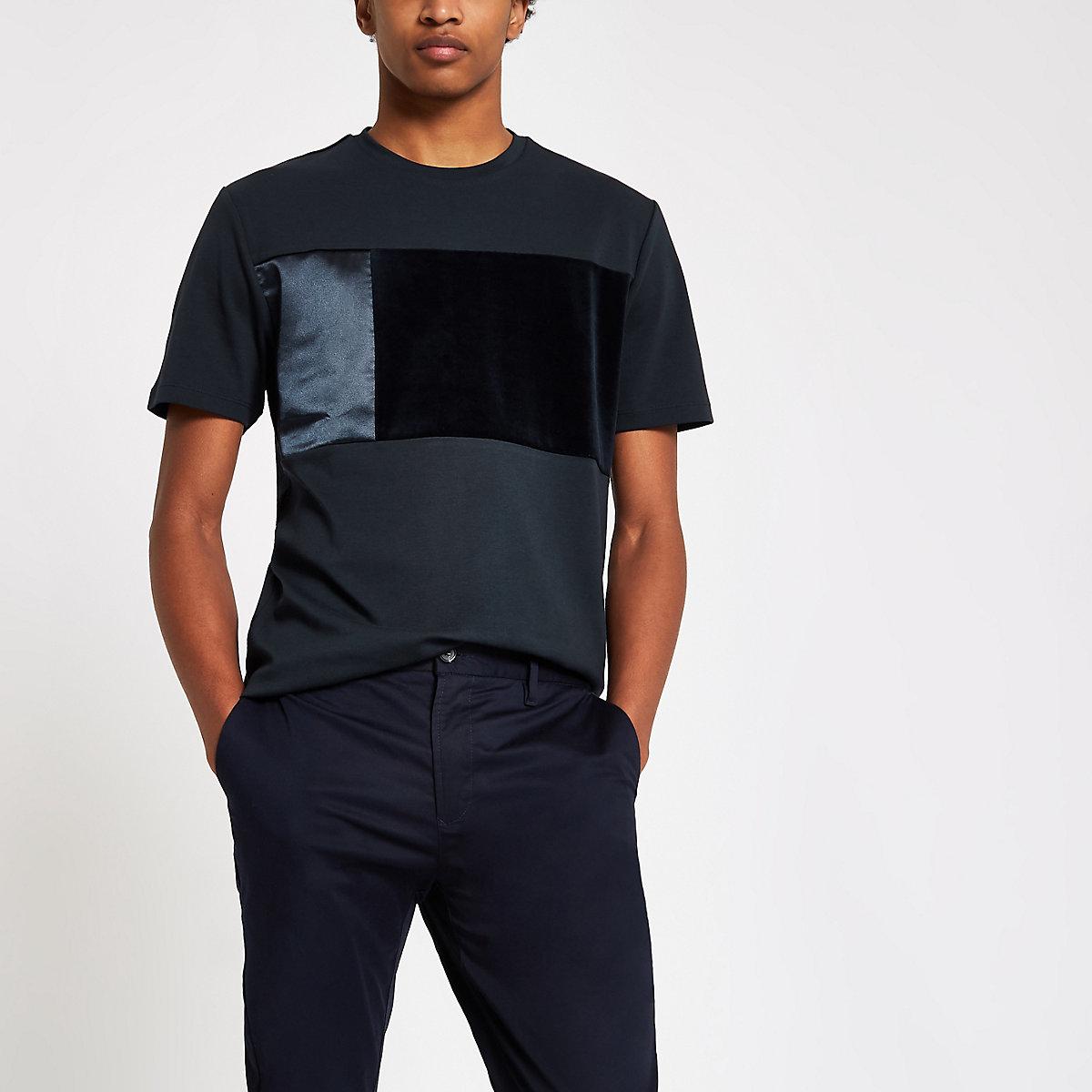 Navy satin velour panel slim fit T-shirt