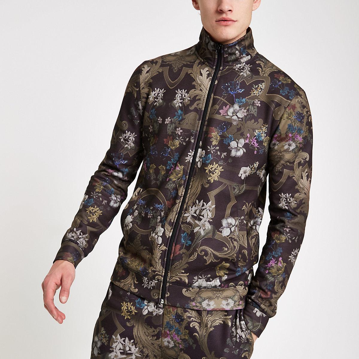 Dark green slim fit mixed print track jacket