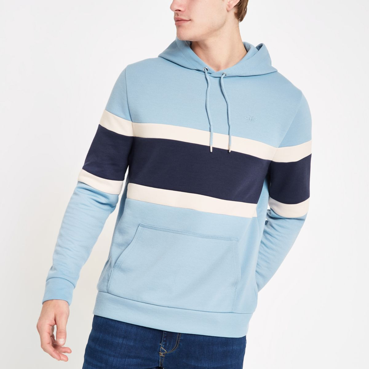 Light blue slim fit color block hoodie