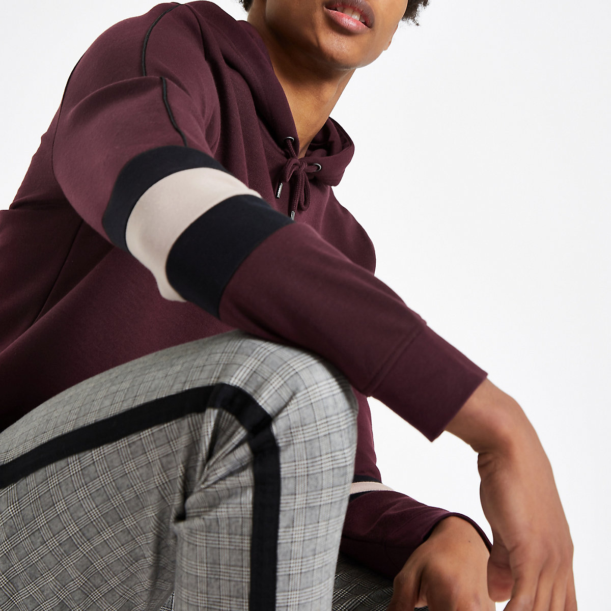 Burgundy slim fit colour block sleeve hoodie