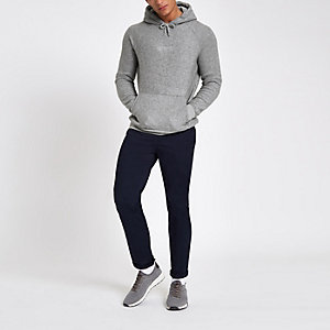 Grey slim fit 'carpe diem' hoodie