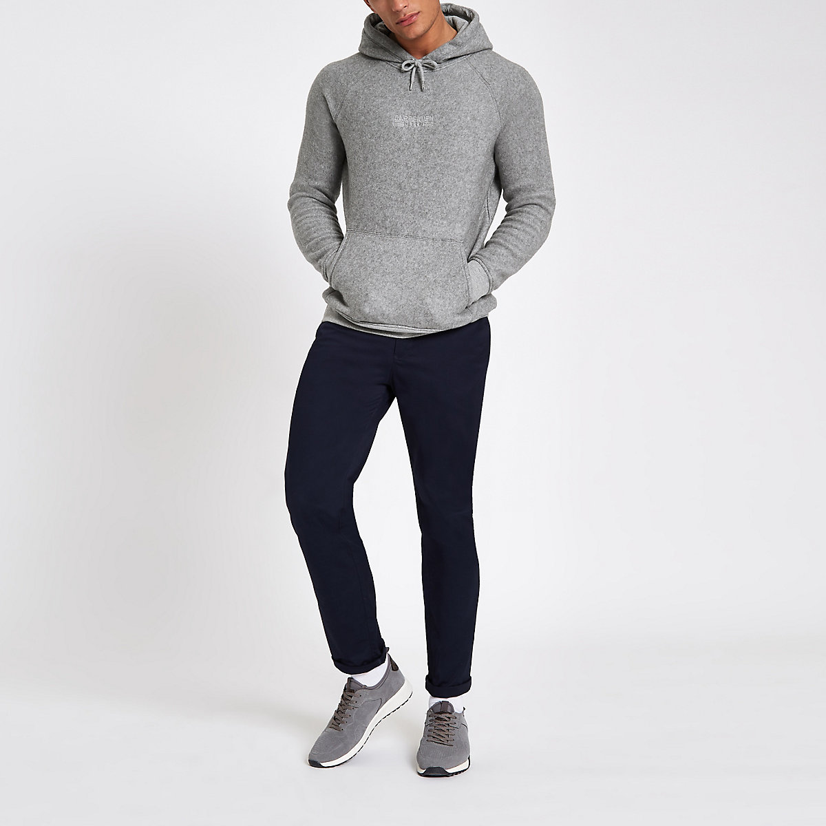 Grey slim fit 'carpe diem' hoodie