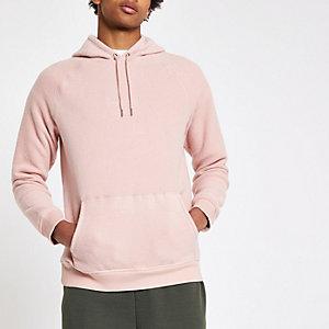 Pink slim fit 'carpe diem' hoodie