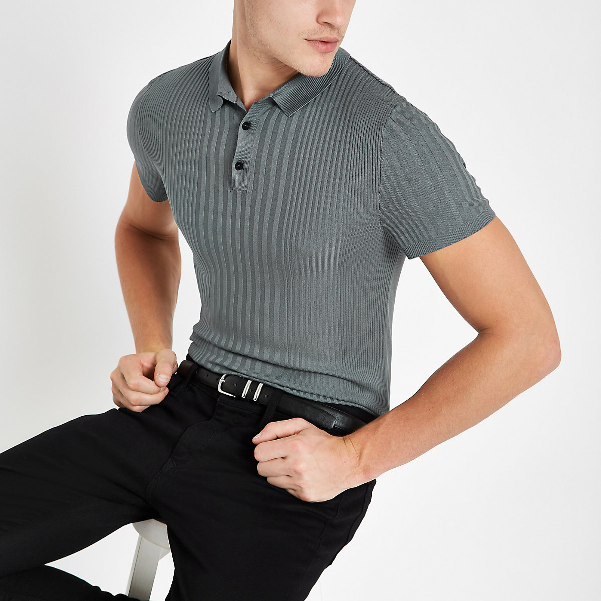 Grey ribbed slim fit polo shirt