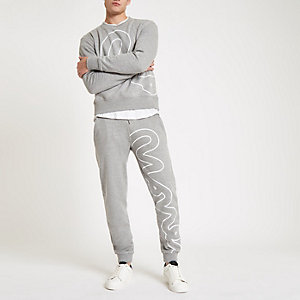 Money Clothing – Pantalon de jogging gris à grand motif
