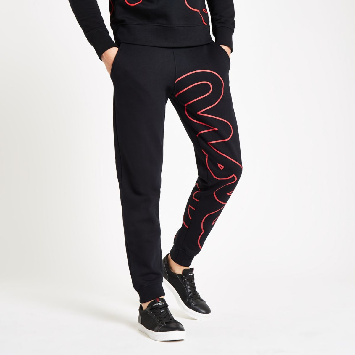 Money Clothing black big outline joggers