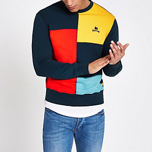 Money Clothing navy colour block sweatshirt