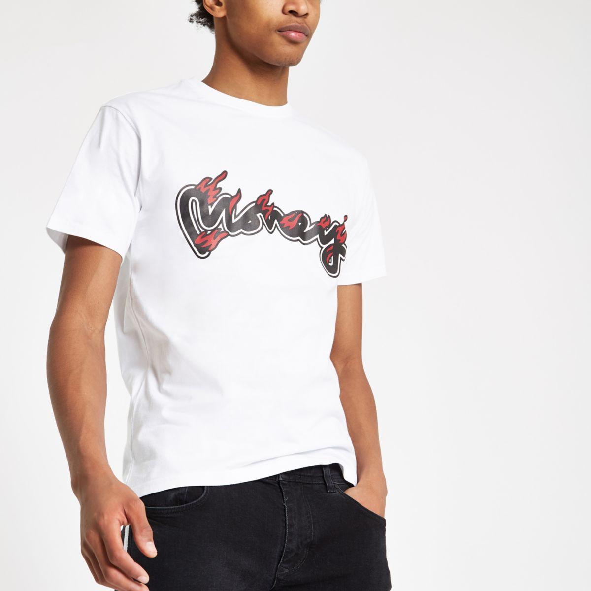 Money Clothing white logo flames T-shirt