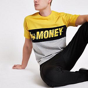 Money Clothing - Geel T-shirt met kleurvlakken