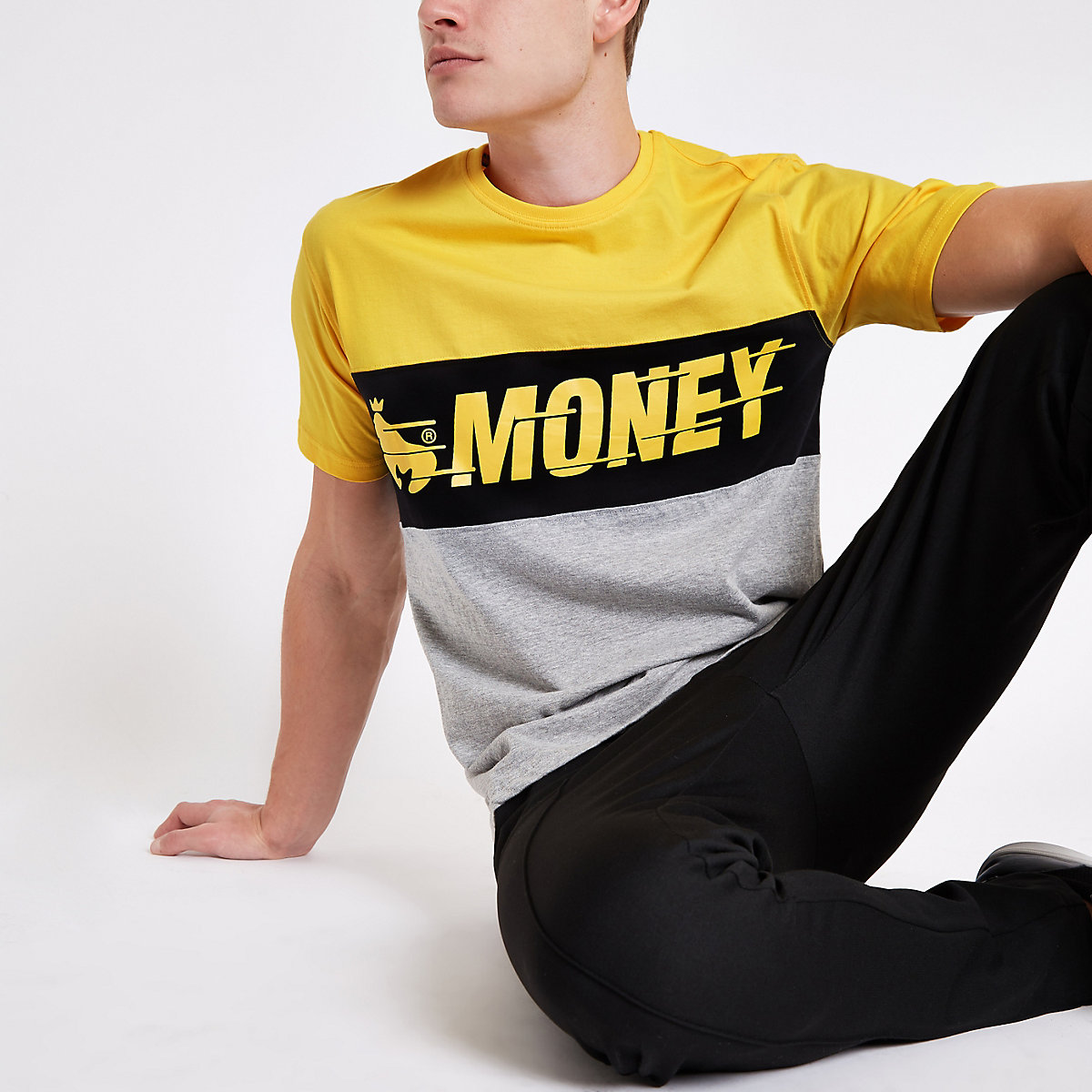 Money Clothing yellow colour block T-shirt