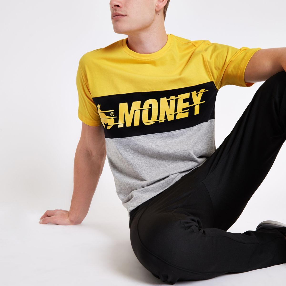 Money Clothing yellow color block T-shirt