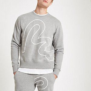 Money Clothing – Sweat gris avec dessin façon contour