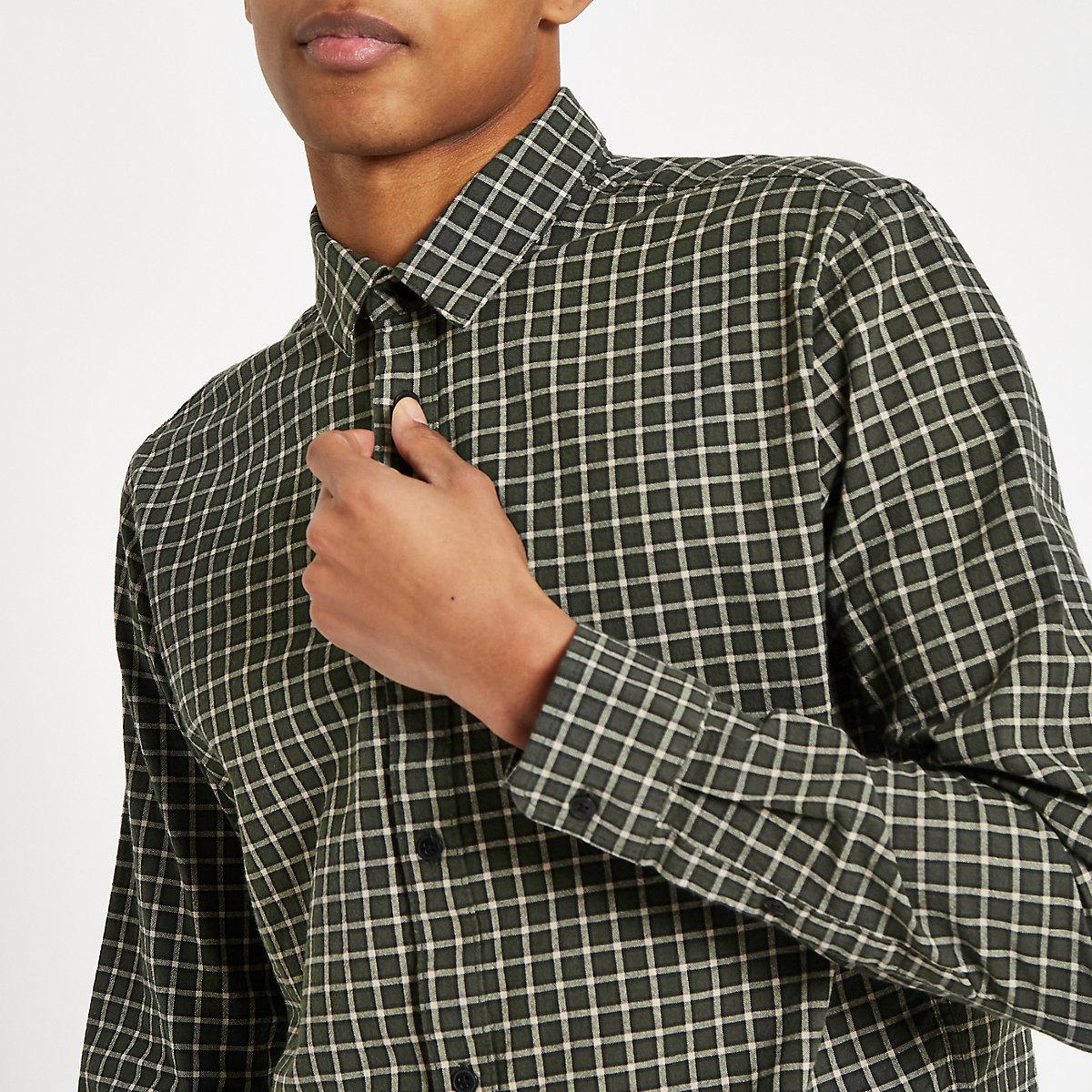 Only & Sons Tony dark green check shirt