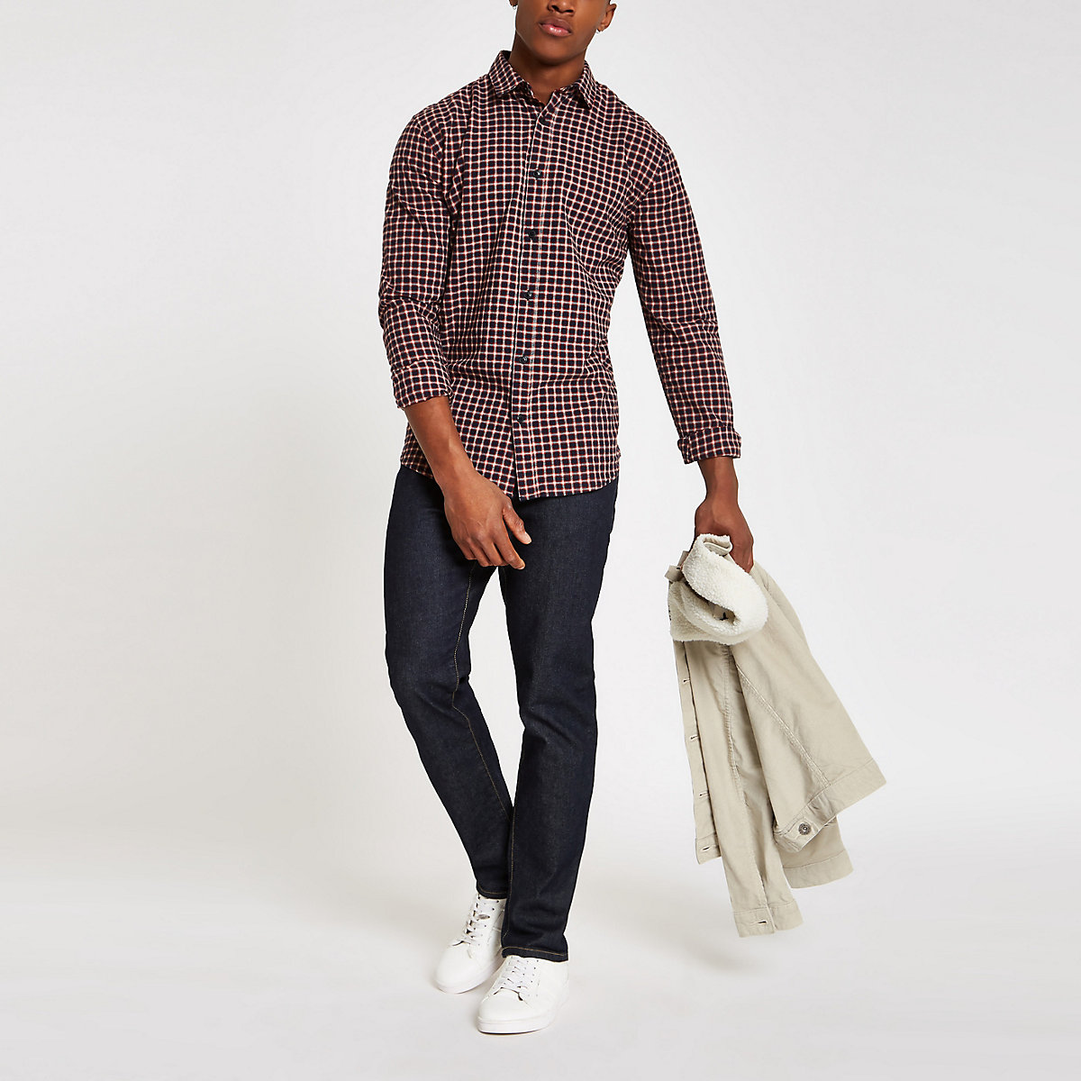 Only & Sons Tony red check shirt