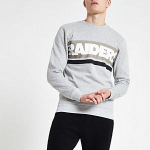 Only & Sons - Grijs sweatshirt NFL 'Raiders'-print