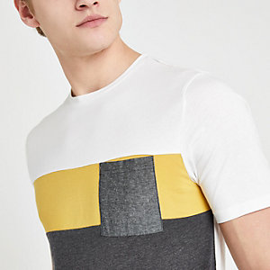 Only & Sons – Weißes T-Shirt in Blockfarben