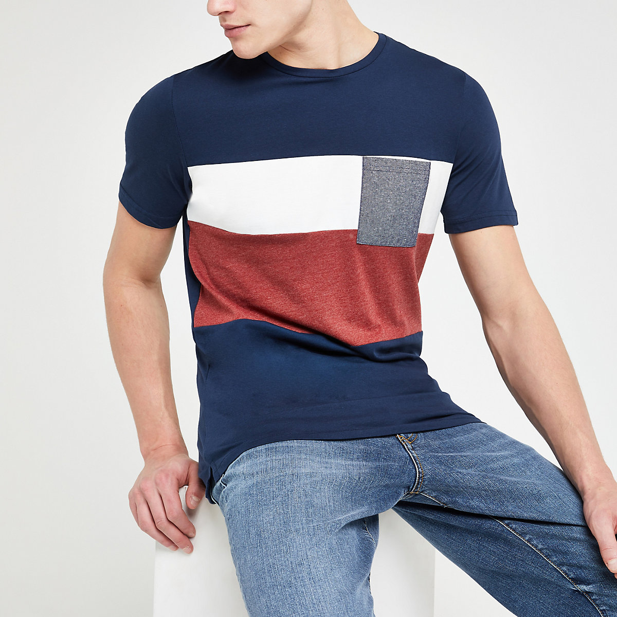 Only & Sons navy block T-shirt