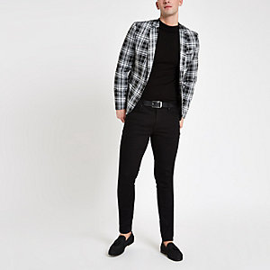 Black plaid check skinny fit blazer