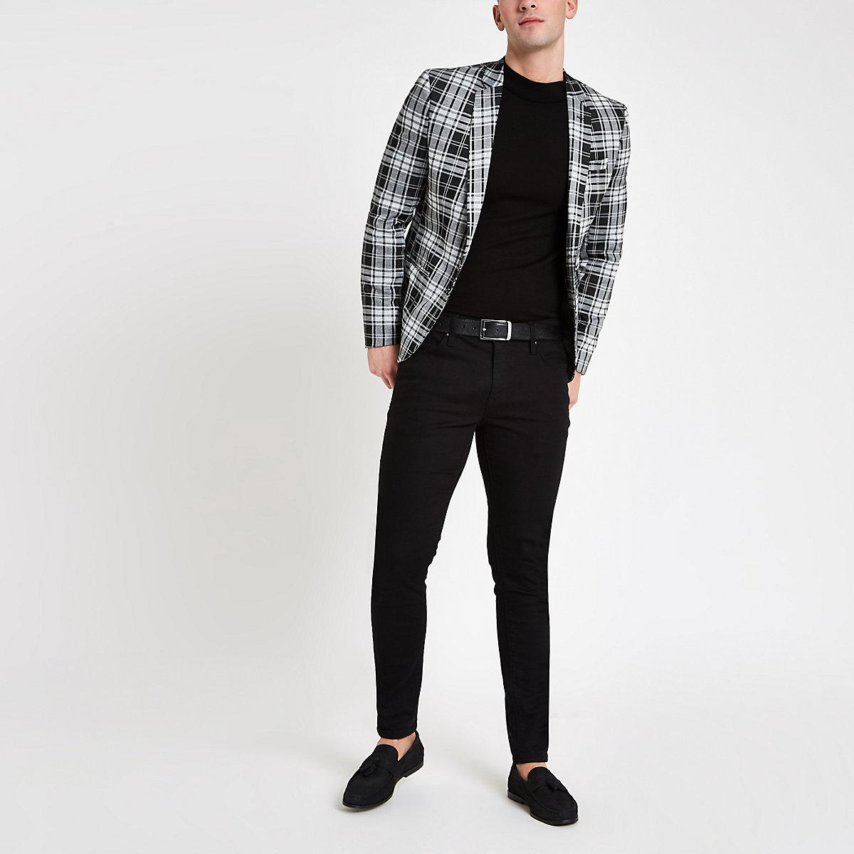Black tartan check skinny fit blazer