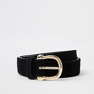 Black leather pony buckle belt