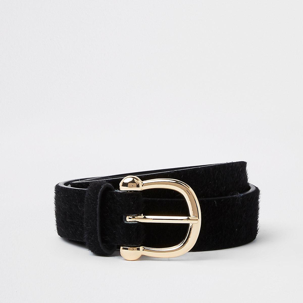 Black leather pony buckle belt