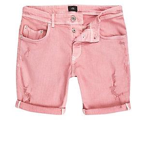 Short en jean skinny rose déchiré