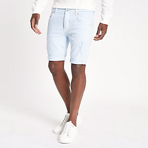 Blue skinny ripped denim shorts