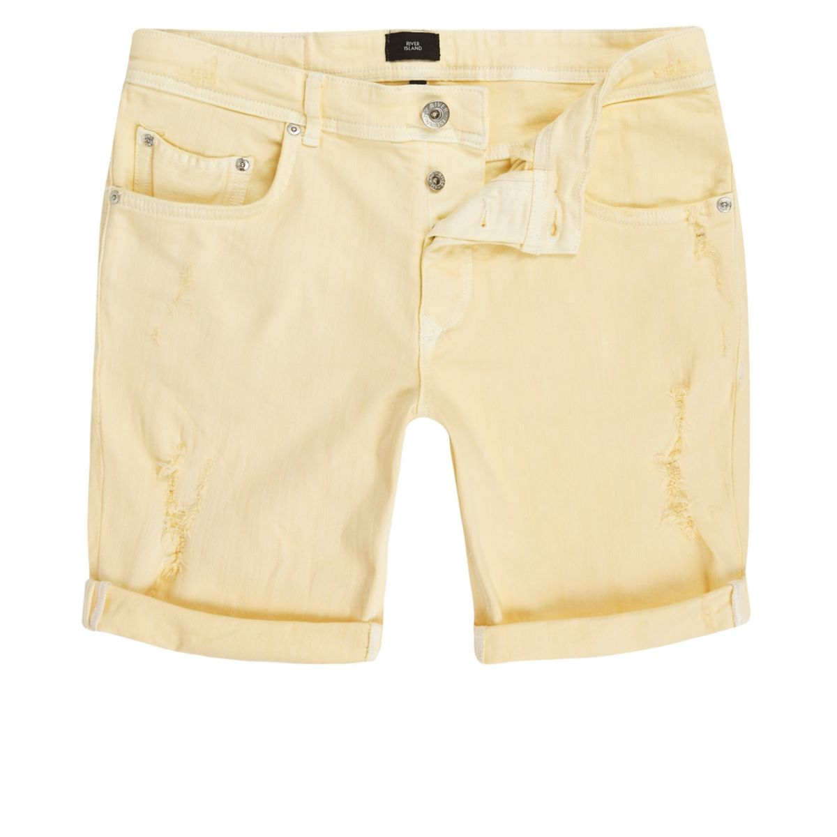 Yellow skinny ripped denim shorts