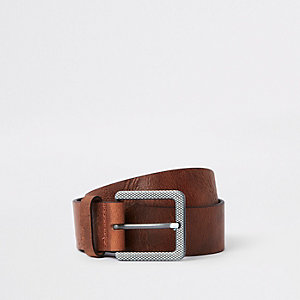 Brown textured square buckle jeans belt